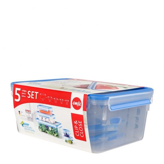 EMSA CLIP & CLOSE Set 0.15/0.25/0.55/1/3.7L Transparent/Blue